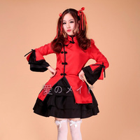 Chinese Traditional Lolita Dress Cosplay Halloween Party Dance Girl Black Red S 3XL