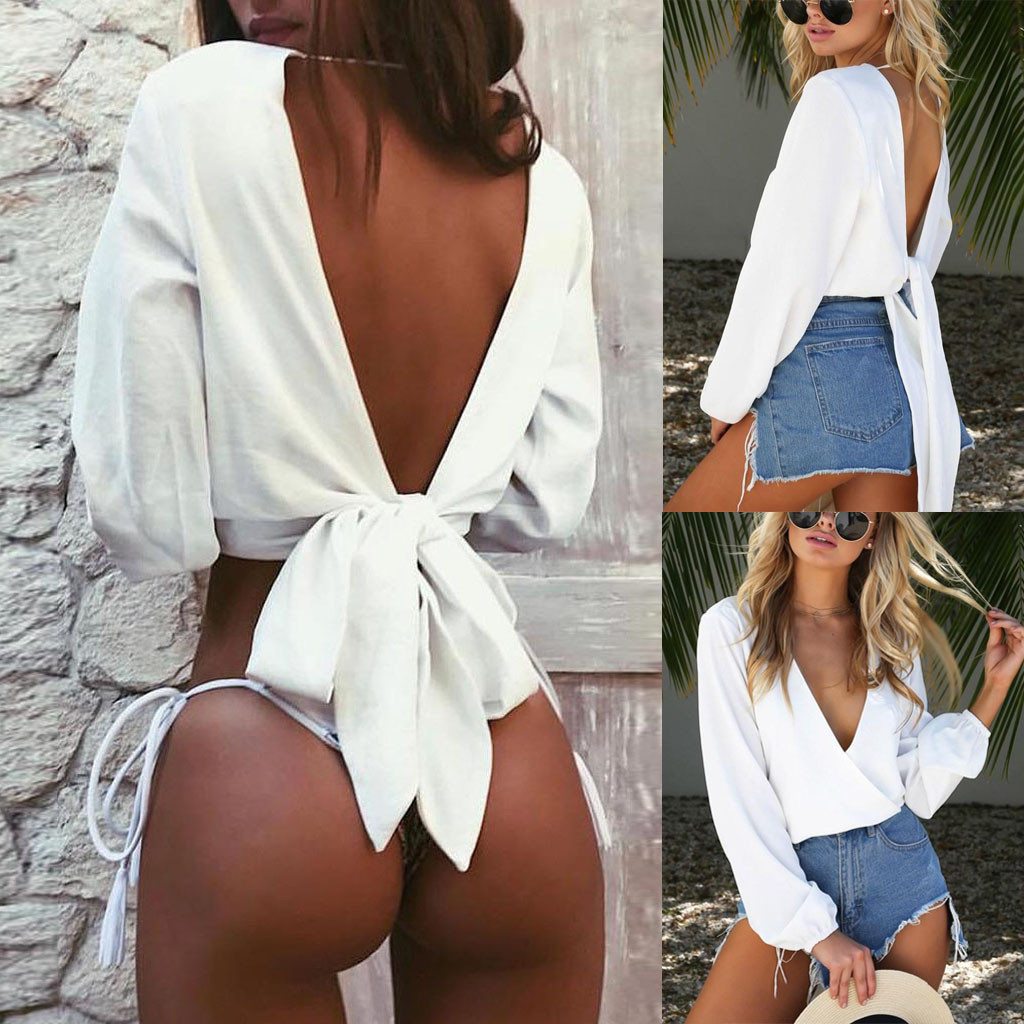 NEW Sexy Blouses Women Fashion Solid Hollow Out Tops Long Sleeve Backless Bow Knot Blouse For Women Clothing Free Shipping Blusa
