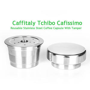 Refillable Coffee Filters For Caffitaly Tchibo Cafissimo Classic K-fee Stainless Steel Reusable Coffee Capsule & Tamper Set