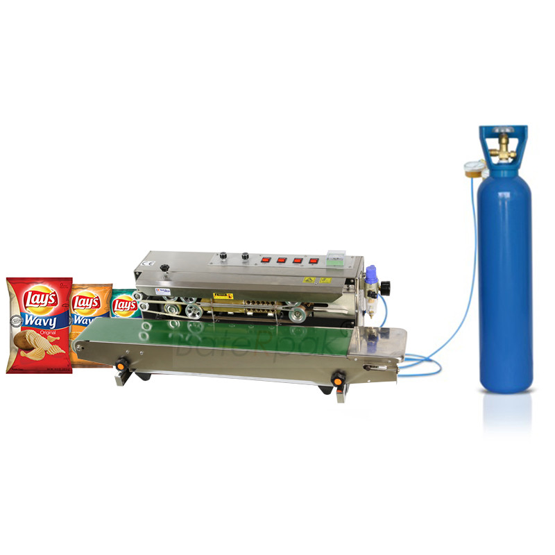 FRM-980 BateRpak automatikus folyamatos feltöltésű nitrogén-fólia tömítő gép, műanyag zacskó-hegesztők, kibővített ételszalag-tömítő