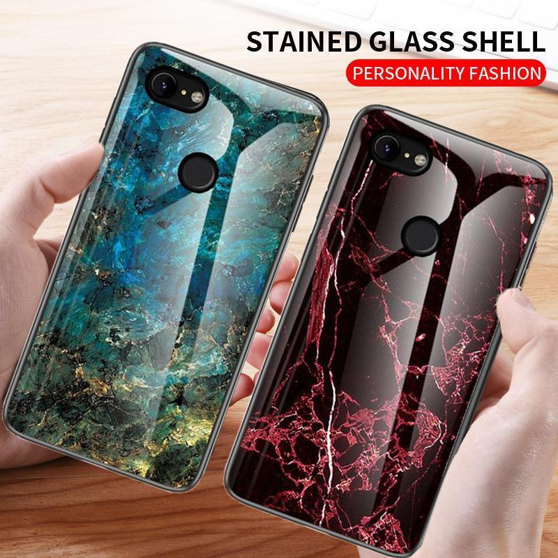 For Google Pixel 2 3 3A 4 XL Case Luxury Marble Hard Tempered Glass Phone Case For Pixel 2 XL 3 3A 2XL 3XL 4XL Pixel3 Back Cover