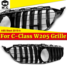W205 GTS Style Grills Grill ABS Gloss Black Without Sign C-class Sporty C180 C200 C250 C300 C350 Car Front Bumper Grille 2015+