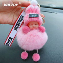 Cute Doll Girl Car Accessories Ornaments Christmas Decorations Key Button Korean Gift Chain Hanging Bag