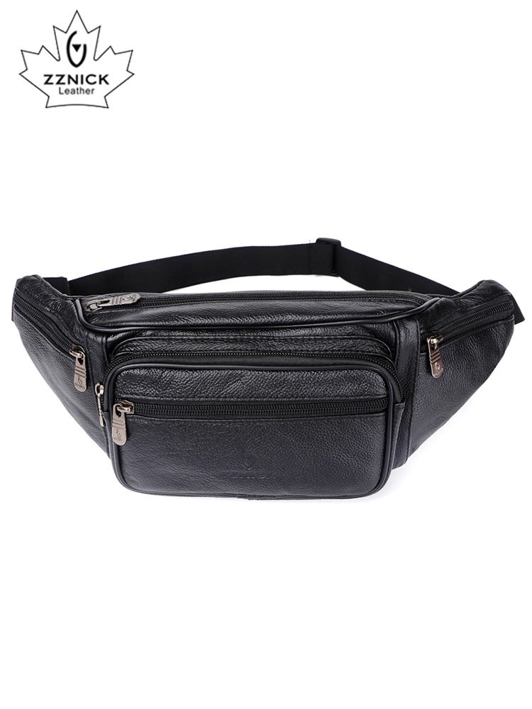ZZNICK Waist-Bag Chain Phone-Pouch Genuine-Leather for Bolso Men