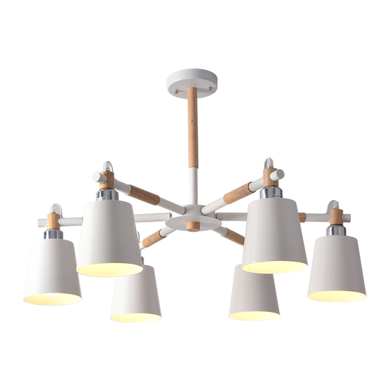Image 5 - BOTIMI Lustre Solid Wood Chandelier For Living Room Iron Lampshade LED Chandelier Lighting Lustres Para Sala De Jantar Home Lamp-in Chandeliers from Lights & Lighting