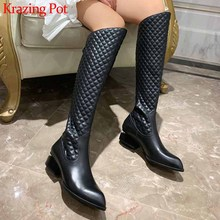 Boots Krazing-Pot Square Print Pointed-Toe Thigh Winter Women Popular Zip L01 Lattice