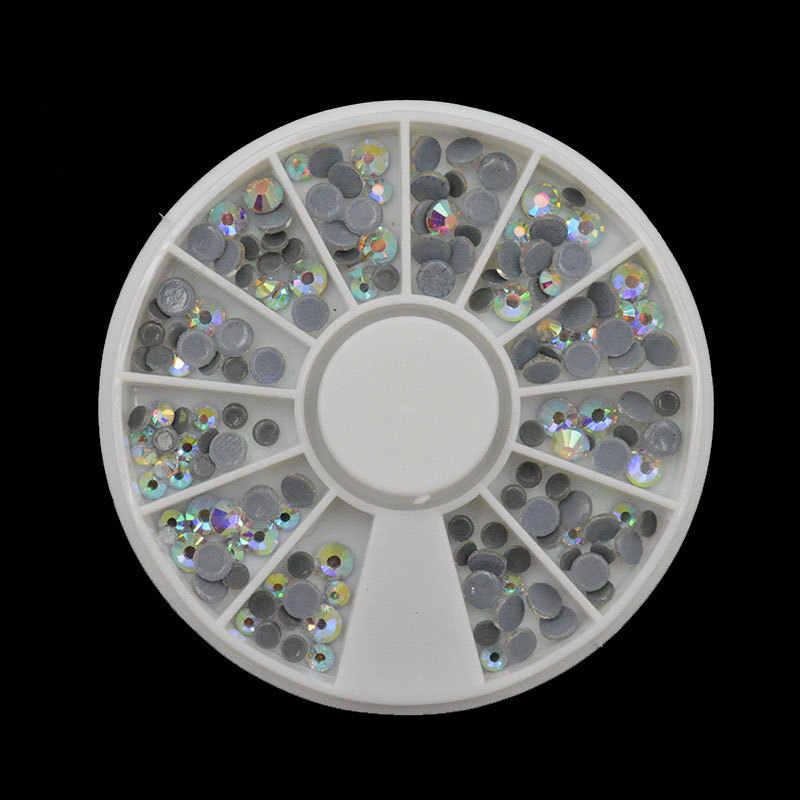 Tırnak süsleme düz dipli elmas insan yapımı elmas beyaz AB elmas astarı matkap ITC Swarovski elmas tırnak süsü aksesuarları sticker