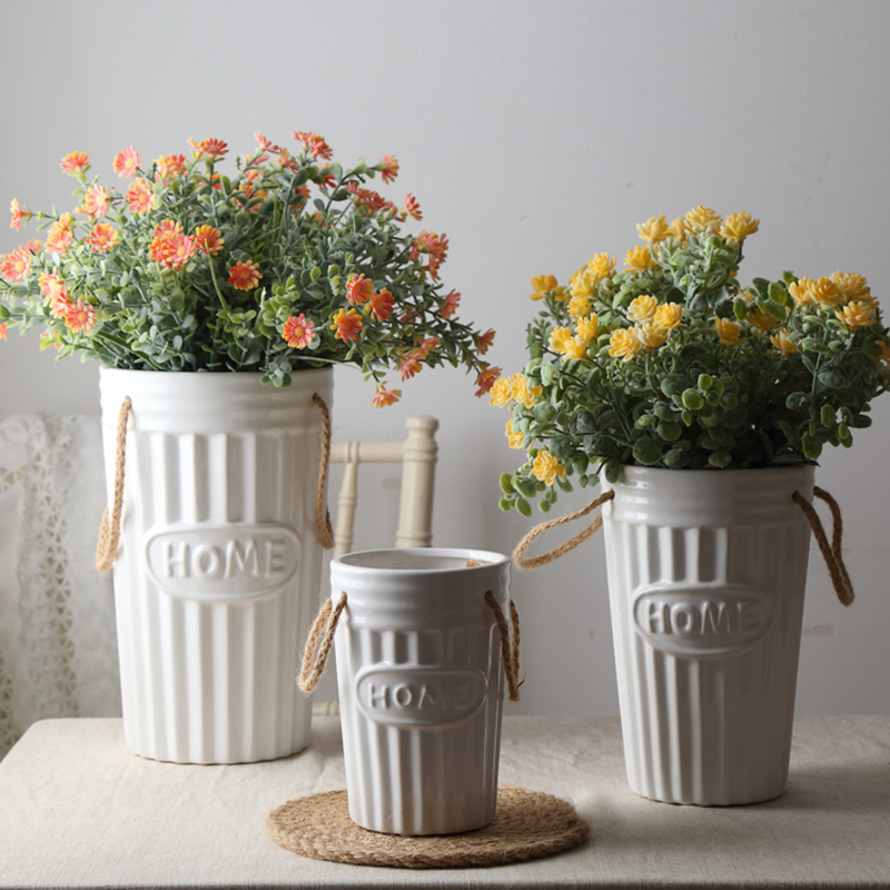 Retro Ribbed Design Vase White Ceramic Flower Vase With Hemp Rope Handle Home Decoration Centerpiece Relief Flower Pot Vases Aliexpress