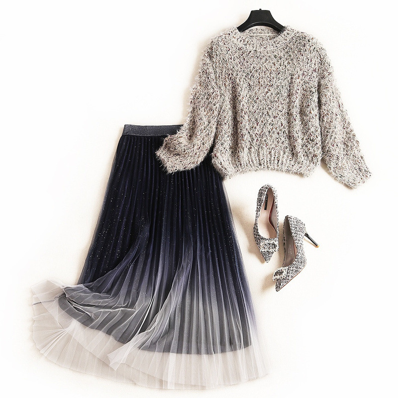 Women Girls Winter Mesh Skirt Suit Pink Blue Velvet Pleated Long Skirts + Loose Style Knitted Sweater Top Sweet Two Piece Set
