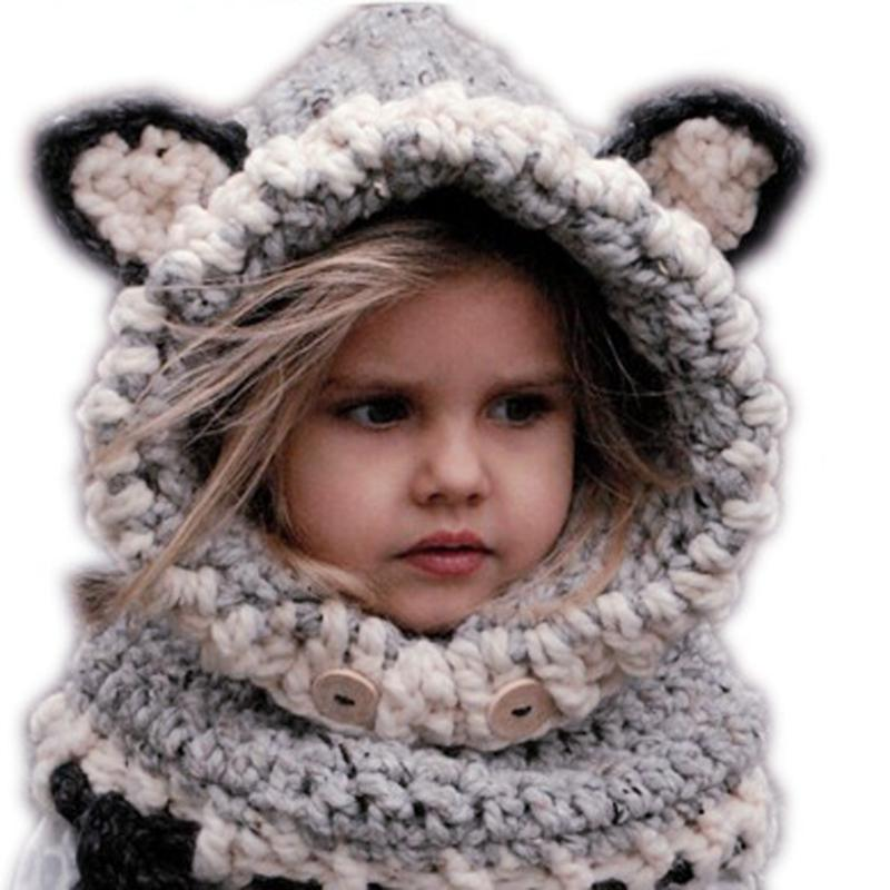 New Design Cat Fox Ear Winter Windproof Winter Kids Fox Ears Handmade Beanie Hat Scarf Sets For 1~10 Year Old Children  (Grey)