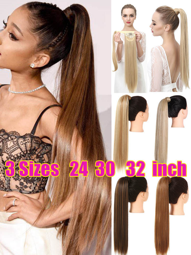 Ponytail Extensions Hairpiece Wrap Natural-Hair Clip-In Fake Straight Long Synthetic