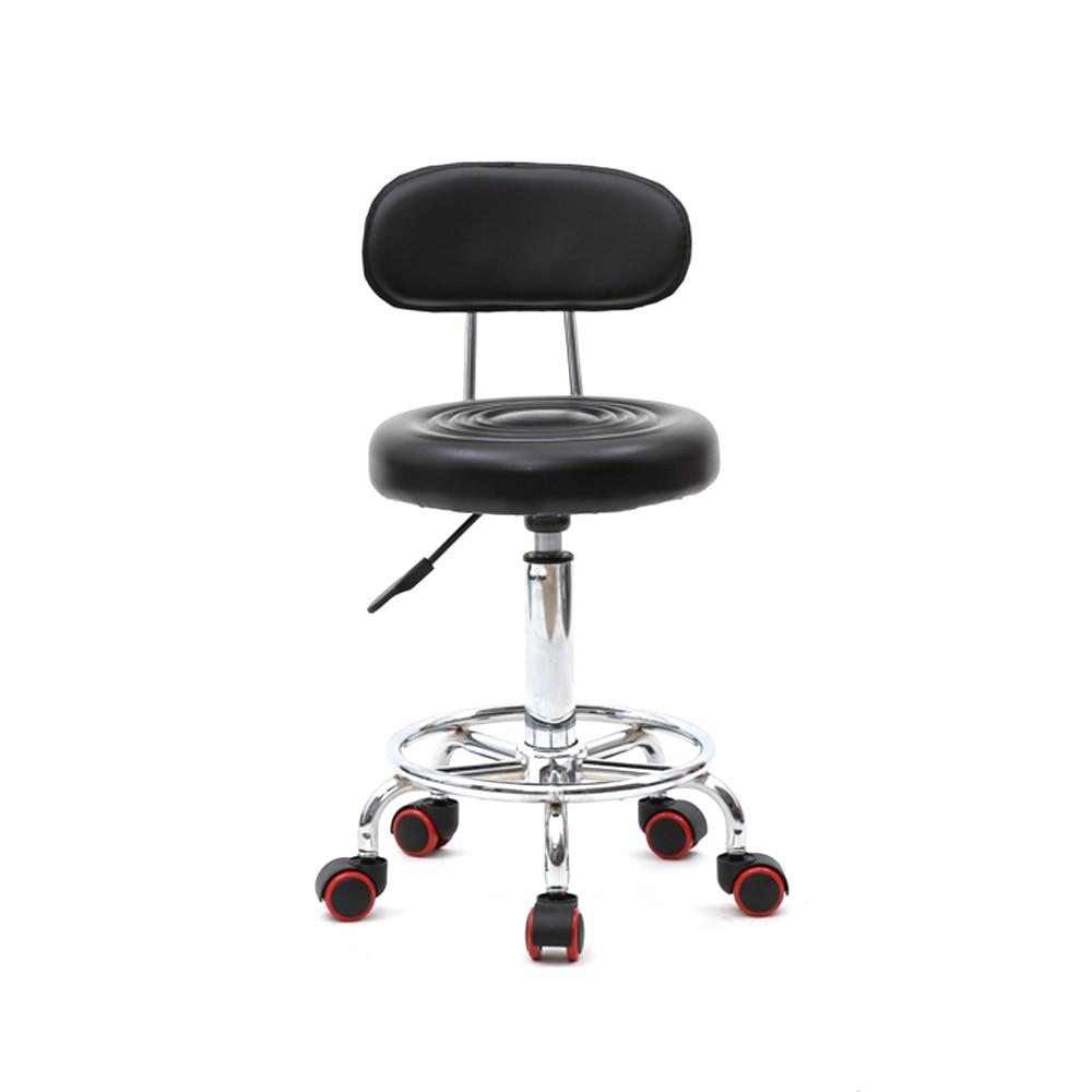 【UK Warehouse】Round Shape Adjustable Salon Stool With Back And Line Black  {Free Shipping UK} Drop Shipping*