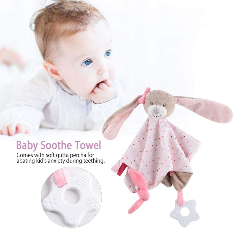 Baby Teether Blanket Infant Kids Soft Plush Cute Animal Soothing Blanket Towel Infantil