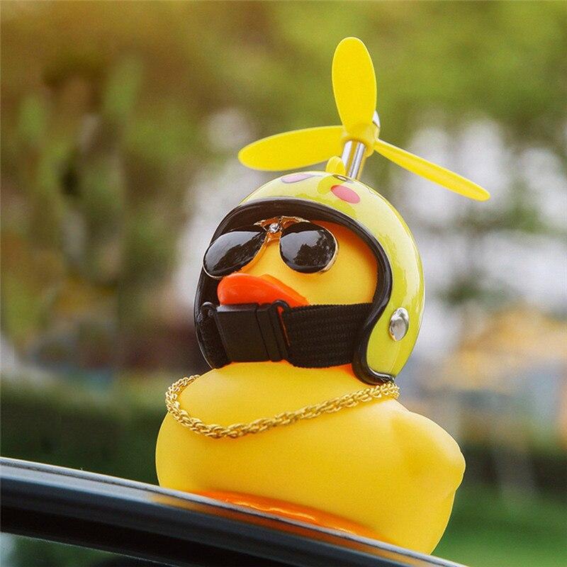 Pato do carro com capacete de vento quebrado pequeno amarelo pato estrada bicicleta capacete do motor equitação acessórios ciclismo sem luzes