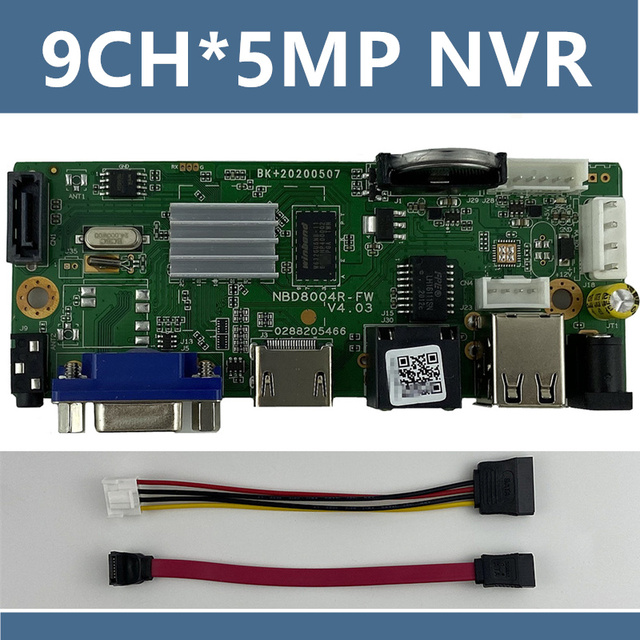 9CH*5MP ONVIF H.265 Support 1 SATA NVR Network Digital Video Recorder Max 8TB XMEYE CMS with SATA Cable P2P Cloud Mobile