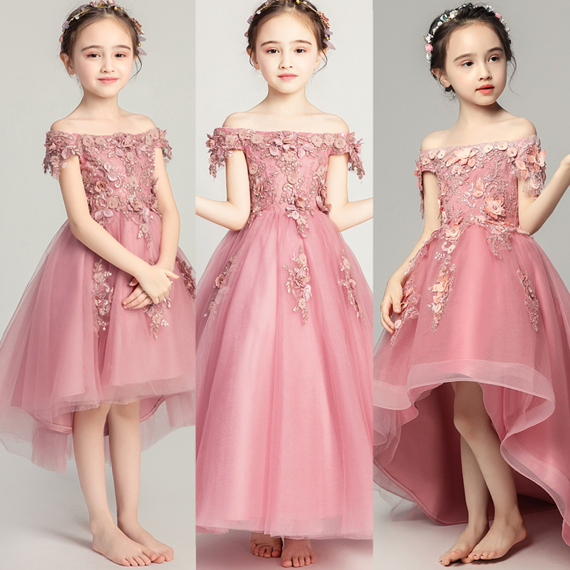 Off Shoulder Lace Girl Wedding Party Flower Girl Dress Embroidery Flower Kids Princess Pageant Gowns Girl First Communion Gown