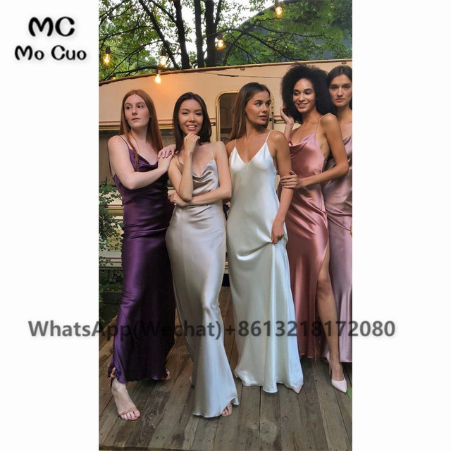 2021 Sheath Sexy Prom Evening Dresses Long Spaghetti Straps V-Neck Robe De Soiree With Side Slit Party Prom Dresses 5