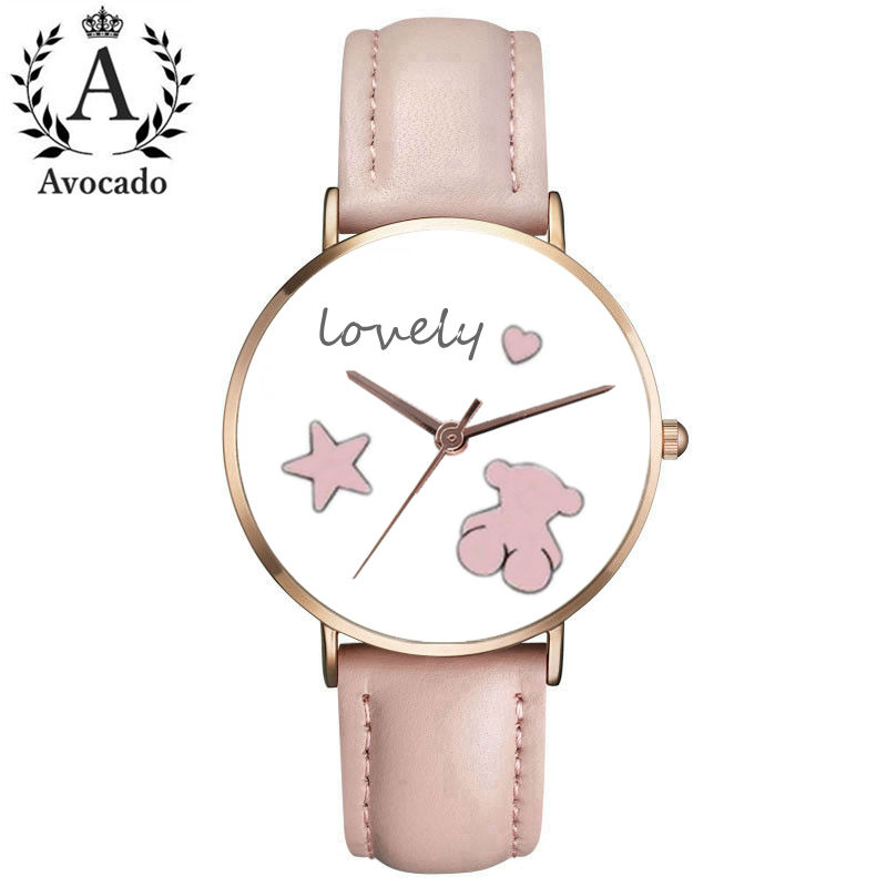 New Fashion Brand Watches Women Leather Quartz Wristwatch Clock Ladies Bear Watches Women's Watches Relojes Feminino Hodinky