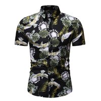 New 2019 Summer Men's Wear Simple And Versatile Casual Fashion 3D Floral Print Single Breasted Beach Party Short sleeved Shirt