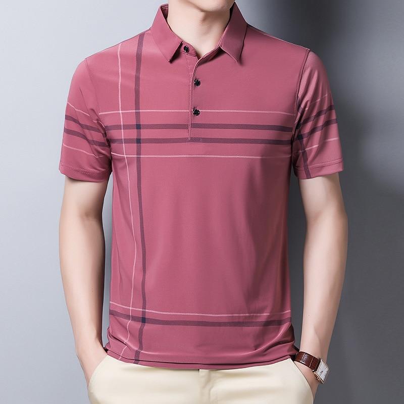 Ymwmhu Fashion Slim Men Polo Shirt Black Short Sleeve Summer Thin Shirt Streetwear Striped Male Polo Shirt for Korean Clothing 5