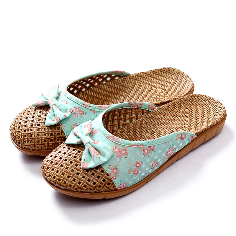 2020 NewWeaving Flax Home Slippers Women Rustic Style Refreshing Women's Shoes Cute Bow Weaving Breathable Sandals Flat Slides