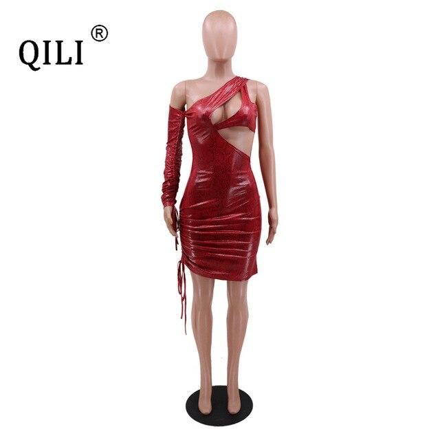 Фото qili женское платье на одно плечо сексуальное мини с вырезами цена