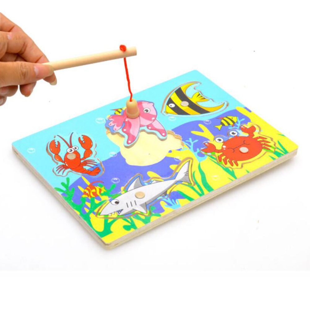 Magnetic Puzzle Fishing Toy Gam Toys Set Baby Wooden Kitten Fish Novelty Educational For Children