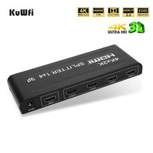 KuWFi 4K HDMI Splitter Full HD 1080P Video HDMI Switch Switcher 1 in 4 Out  Compatible with PS4 DLP Xbox DVD Player Blu-ray HDTV apower link d 9310 1080p hd video audio switcher black 3 in 1 out