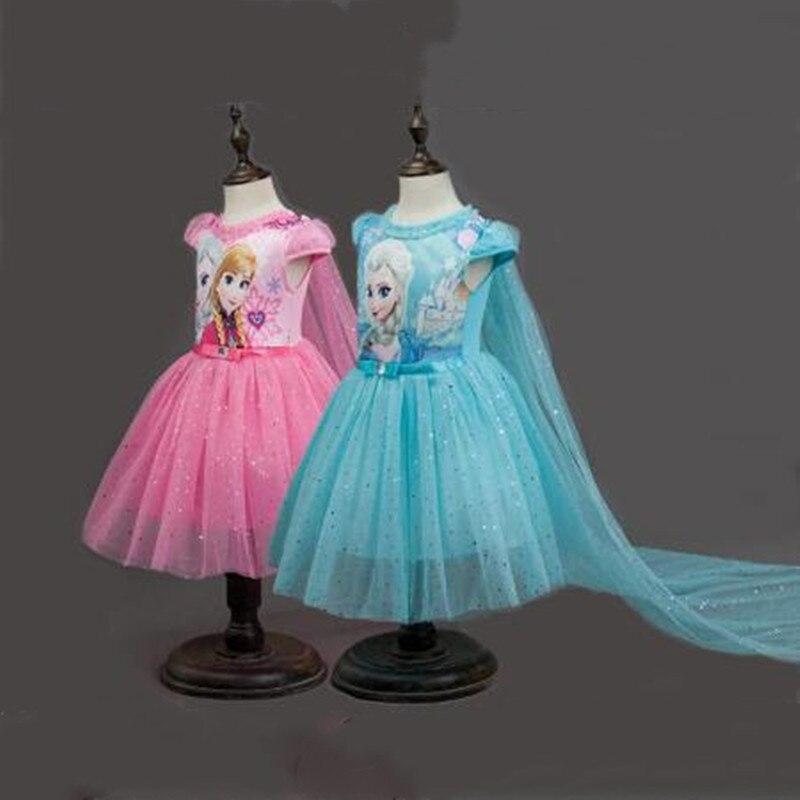 Новинка, платье для девочек Анна, Эльза, София, шаль со шлейфом, карнавальный костюм Снежной королевы, костюм принцессы для девочек, Рождественская одежда для детей|Платья|   | АлиЭкспресс