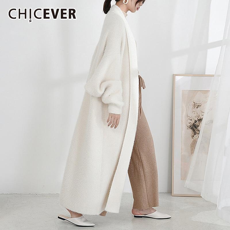 CHICEVER 2020 Winter Knitted Female Sweaters Batwing Sleeve Loose Oversize Warm Black Cardigan Sweaters Jumper Women Feminino