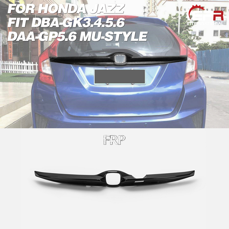Car Accessories For Honda Jazz Fit 14-17 DBA-GK3.4.5.6 DAA-GP5.6 MU-Style PU Tailgate Garnish Plastic Rear Splitter Lip Trim