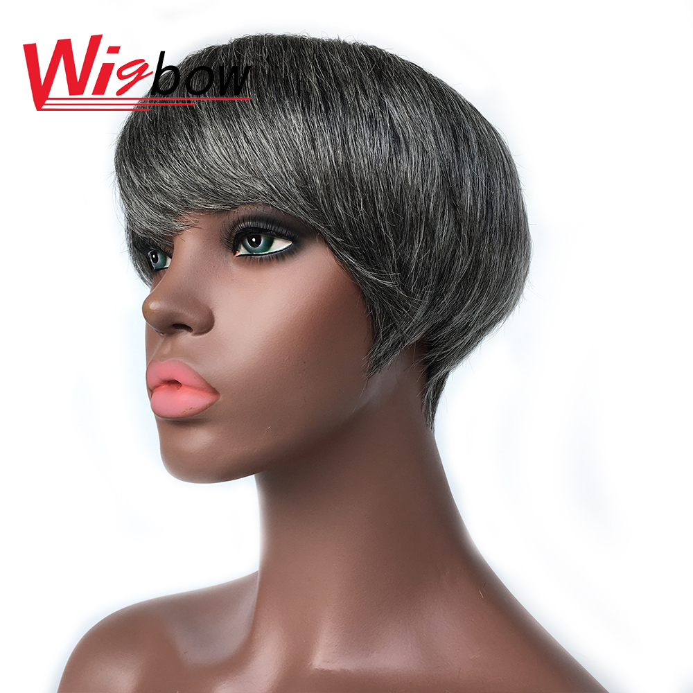 Short Straight Wig Ombre Human Hair Wig Natural Brazilian Human Hair Wigs For Women Machine Made Cheap Wig With Free Shipping