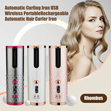 Automatic Curling Iron USB Wireless Portable Rechargeable Automatic Hair Curler Iron with LED Digital Display for Home Travel