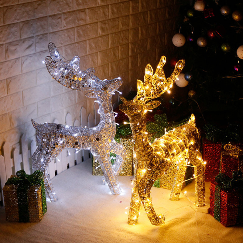 Christmas Trolley Wrought Iron Deer Glowing Elk With Warm Light  Decoration Supplies Glow In Dark  Home Festival Decoration