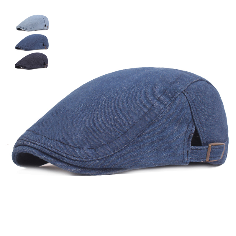 Summer Jeans Caps For Men Women Casual Breathable Jeans Beret Hats Gorras Planas Summer Flat Caps Solid Cowboy Berets