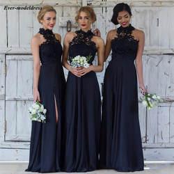 В богемном стиле с высоким воротом темно голубое платье для подружки невесты 2019, кружева, шифон, без рукавов и с молнией сзади Свадебные