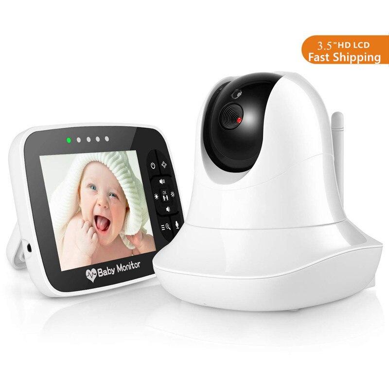 3,5 дюймовый ЖК экран, видеоняня с дистанционной камерой, панорамирование, наклон, температурный дисплей, Колыбельная Двухсторонняя аудиосв