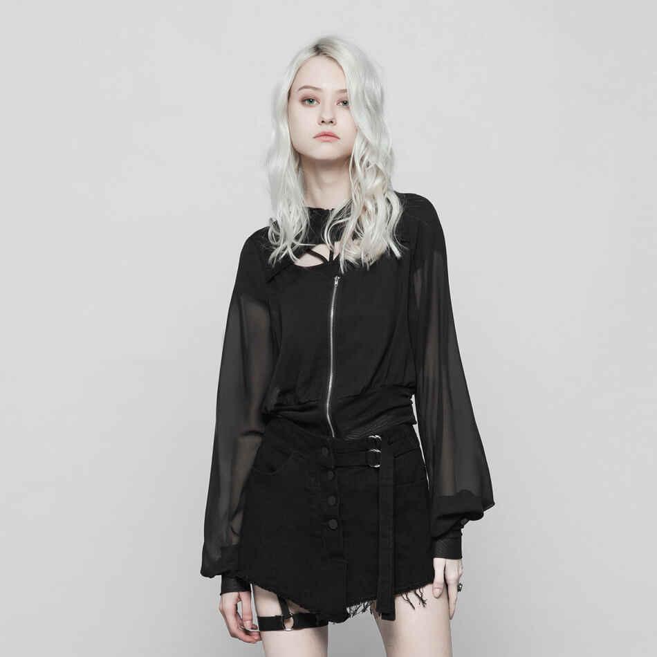 Женское короткое пальто с длинным рукавом, прозрачное шифоновое пальто в стиле панк с v-образным вырезом и капюшоном, свободная верхняя одежда