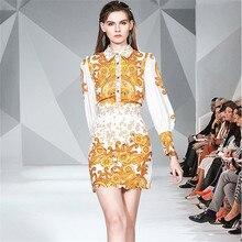 Runway Golden Print Two Pieces Set Women Autumn Lantern Sleeve Shirt Top + High