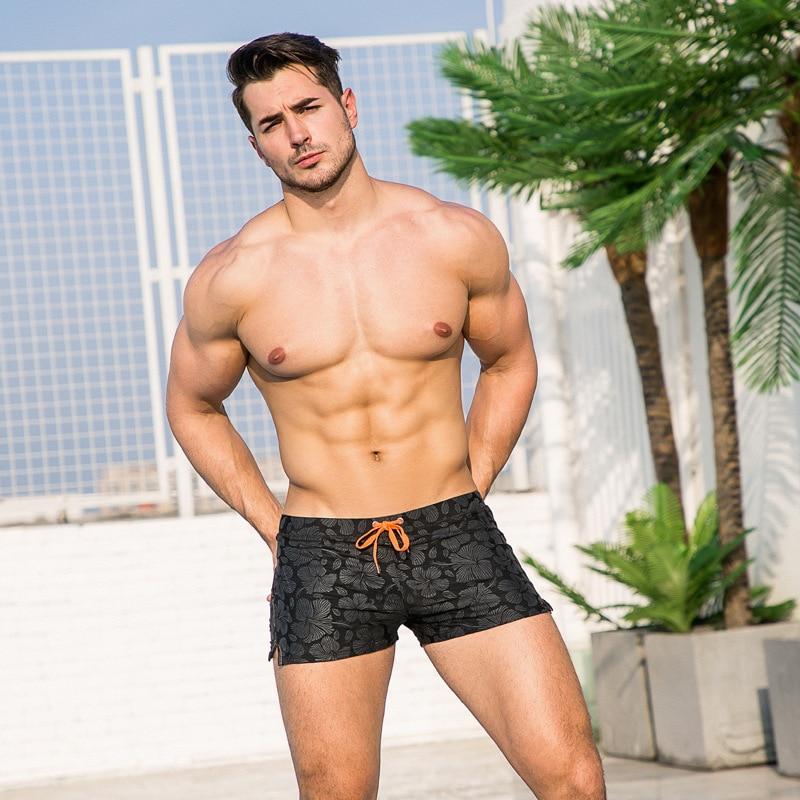 Men AussieBum Printed Fashion Low Waist Black Swimming Pool Short Sleeve Pocket Fashion Man Sexy Sao Beach Swimming Trunks