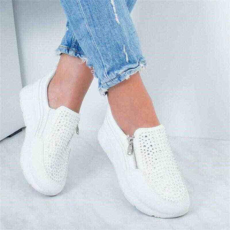 2019 Dành Cho Nữ Dây Kéo Đen Nền Tảng Huấn Luyện Viên Kim Cương Giả Giày Người Phụ Nữ Cổ Thắt Dây Tenis Feminino Zapatos De Mujer Nữ