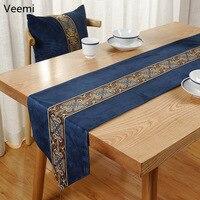 Neue Chinesischen Stil Stickerei Solide Roten Tisch Läufer Einfachheit Blau Tisch Flagge Abdeckung Dekoration für Esstisch mit Quasten