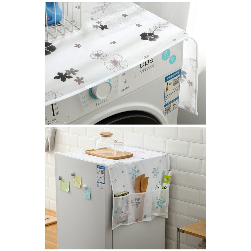 Washing Machine Cover Cloth With Organizer Pouches Single Door Fridge Covers Dust Proof Cover Waterproof Refrigerator Decor