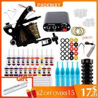 Starter Kit Macchina Del Tatuaggio Set 1 Bobine Pistole 20 Colori Pigmento Inchiostri Set Nero Alimentazione Elettrica Del Tatuaggio Principiante Grip Kit Permanente trucco
