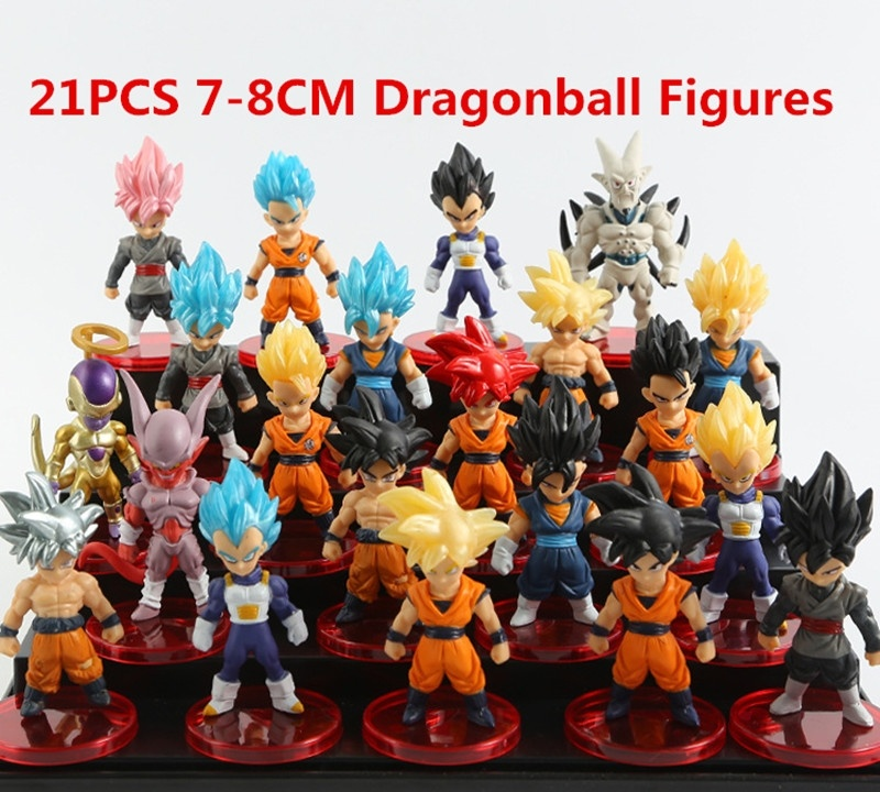 21pcs//lot Dragon Ball Super Saiyan God Action Figure Ultra Instinct Model Toys