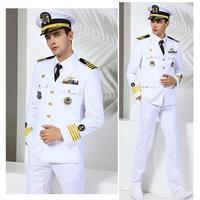 US Navy Military Uniform Yacht Captain Suit Dinner Costume Military Army Soldiers Clothes Militaries Jacket Pant Hat Set