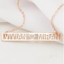 Customized personalized name necklace for women Roman numerals Minimalism Cut Out Bar heart necklace nameplate jewelry Collier modern cut out ball noctilucent necklace for women
