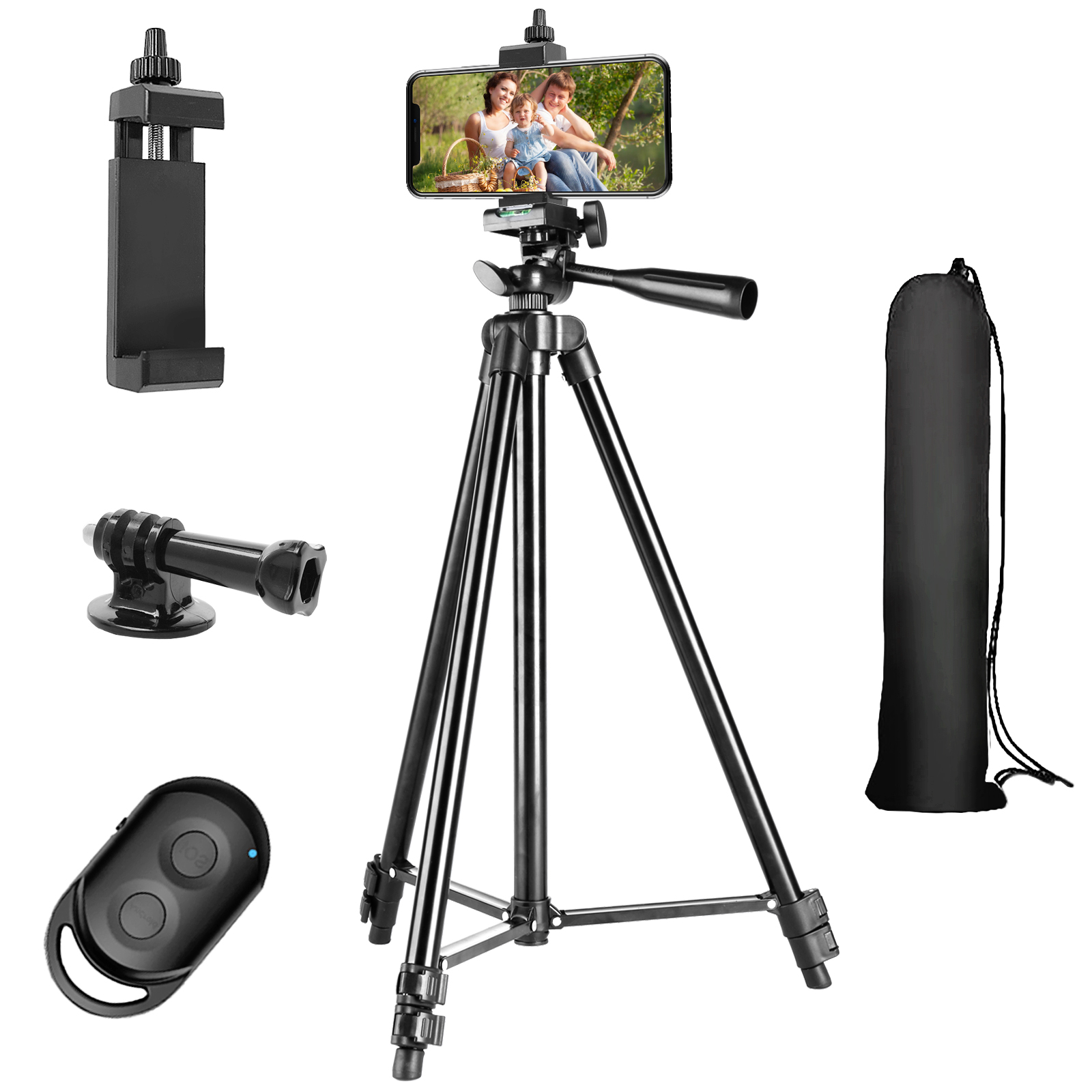 Mobile Phone Tripod Stretchable Lightweight Aluminum Mobile Stand Bluetooth Remote Control IPhone/Android and Camersuitable
