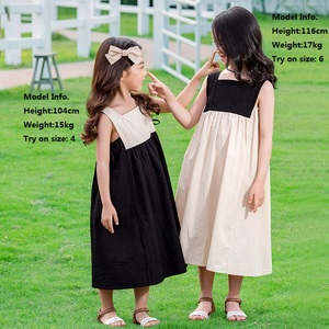 Image 4 - 2020 Summer New Girls Dresses Bow Baby Princess Dress  Two Colors Patchwork Sleeveless Kids Cotton Dresses for Children, #8291