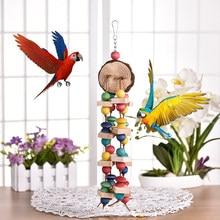 Jouets en bois colorés pour perroquets, à mâcher, Cage suspendue pour oiseaux de compagnie, couleur aléatoire